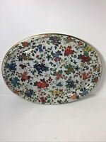 Vintage 1971 Daher Decorated Ware Floral Tin Oval Tray 20 x 15 Made in England