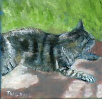 original Terry George painting of a cat relaxing in the sun