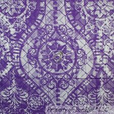 BonEful Fabric FQ Cotton Quilt Purple White Damask Flower Gothic Lace Goth Girl