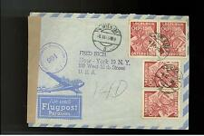 1949 Vienna Austria Censored Occupation registered Cover to Usa two pairs # B268