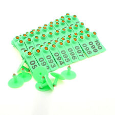 100Pcs Green Goat Sheep Pig Cattle Beef Plastic Livestock Ear Tag Number Tags