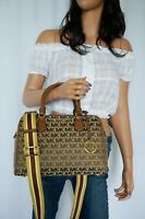 MICHAEL KORS BEDFORD L JACQUARD LEATHER SATCHEL DUFFLE SHOULDER BAG BEIGE BROWN
