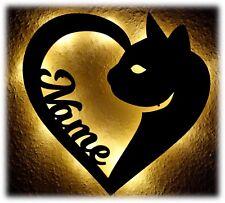 Katzen Deko Lampe Nachtlicht mit Name nach Wunsch - Geschenke Wohnung Katze