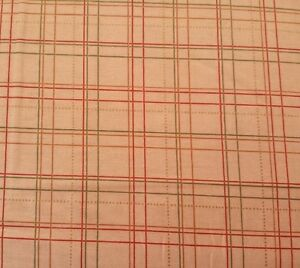 """31"""" Joyful Harvest by Red Rooster Green Red Gold Metallic Line Plaid on Tan"""