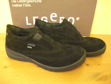 Ladies LEGERO 800 GORETEX Black SUEDE Slip On Brogue SHOE Size UK 8 EUR 42 New!