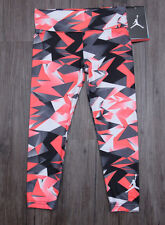Air Jordan Girls Printed Dri Fit Leggings ~ Orange, White, Gray & Black ~