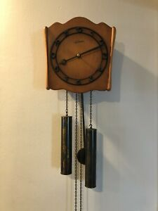 """Vintage Le Castel Swiss Wall Wooden Clock, 24"""" Long (with Pendulum)"""