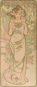 Alphonse Mucha The Anime Woman in Flower Giclee Canvas Print Paintings Poster Re