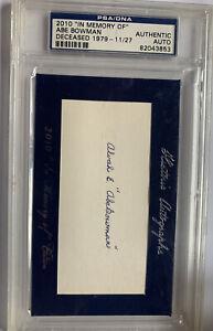 2010 Alvah Edson Abe Bowman Cleveland Indians Naps PSA DNA Autograph Index Card