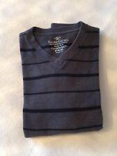 MensSize Medium Faded Glory V Neck Jumper Grey Black Striped