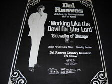 Del Reeves is Working Like The Devil For The Lord 1971 PROMO POSTER AD mint cond