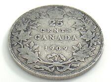 1909 Canada Twenty Five 25 Cent Quarter Canadian Circulated Edward VII Coin J749