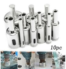 10pc Diamond Hole Saw Kit 3-50mm Grit Drill Bits Set for Glass Ceramic Tile