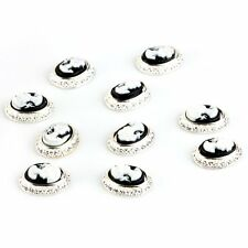 10pcs 3D Alloy White Oval Queen Nail Art Tip Glitters Beads Acrylic DIY Decor LW