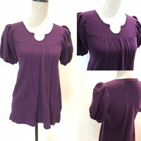 Ladies WHISTLES Top T-shirt Short Puff Sleeve Size 4 Fits 6/8 Purple 100% Wool