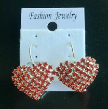 Women Elegant big heart red Crystal Rhinestone Paperclip Earring Laies Fashion