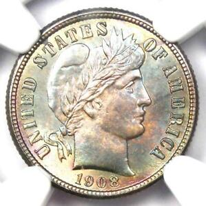 1908-S Barber Dime 10C Coin - Certified NGC MS66+ Plus Grade - $4,750 Value!