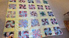 """Older 85"""" x 70"""" Handquilted Pinwheel Pattern Pieced Patchwork Quilt"""