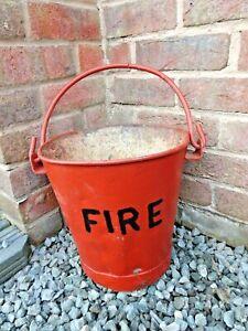 """Vintage Original Galvanised Farmers Fire Bucket 11"""" High 8"""" Diameter Re-Painted"""
