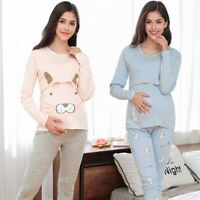 Cartoon Maternity Nursing Pajama Set Long Sleeve Breastfeeding Top Pants Sanwood