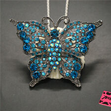 New Blue Bling Cute Butterfly Crystal Betsey Johnson Pendant Women Necklace