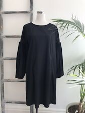 Morrison Black Cotton Pleated Bishop-Sleeve Pocketed Dress - Sz 4 (Fit Size 14)