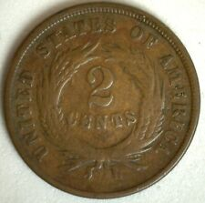 1865 US Shield Two Cents Bronze Coin Good Circulated 2c Philadelphia Mint
