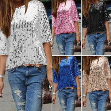 Fashion Womens Sequined Bling Shiny Tank Top Short Sleeve T Shirt Blouse