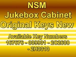 NSM JUKEBOX CABINET KEYS - 167676 - 009901 - 2C2608 - 2H0010 NEW