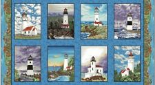 Lighthouses on Shores Panel-Blank Quilting-7 Different-Seas-Ships
