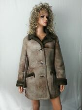 VTG Tannery East Women Coat Jacket Shearling Sheep Skin Fur Brown Tan S to S/M