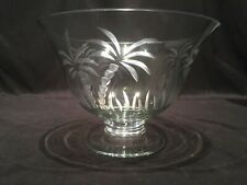 Lenox Etched Palm Tree Footed Bowl Green Tinted Crystal Beach Theme Decor