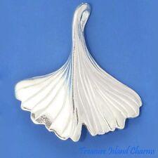 """Ginkgo Biloba Leaf Ginko .925 Solid Sterling Silver Pendant High Polished 1-3/8"""""""