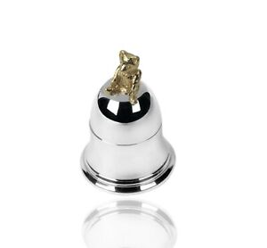 925 Sterling Silver Teddy Bear Bell Tooth Box. New Baby / Christening Gift.