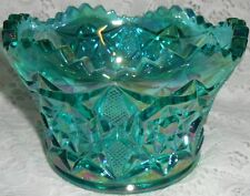 Teal Green iridescent Carnival glass candy fruit bowl diamond star pattern blue