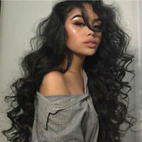 Thick 150% Density 9A Indian Virgin Human Hair Wig 360 Lace Front Wigs Long Wavy