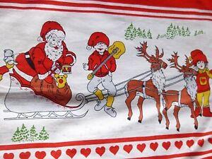 Charming Pair of Original Vintage Holiday Christmas CURTAINS NORDIC SANTA, ELVES