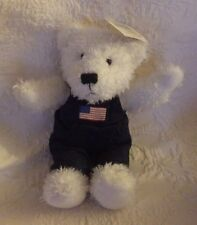 "Hallmark White Teddy Bear Bean Bag Plush Stuffed Animal Blue Overalls 9"" New"