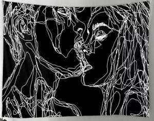 """NEW 60"""" x 52"""" Abstract Scribble Romantic Kiss Black & White Tapestry Wall Decor"""