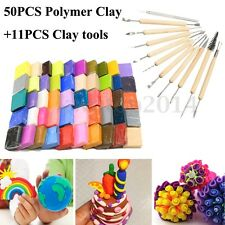 50Pcs DIY Malleable Fimo Polymer Modelling Soft Clay Blocks + 11Pcs Clay Tool