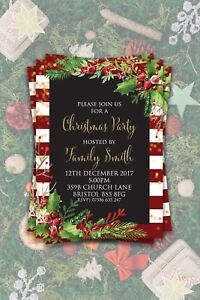 PERSONALISED CHRISTMAS INVITATIONS!! PARTY INVITES!! FESTIVE, HOLIDAYS, WINTER
