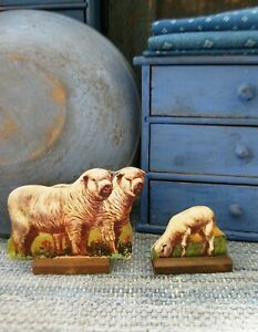 Antique Schoolhouse Cardboard Farm Animals Wood Stands Shropshire Ram Ewe Lamb