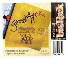 Big Rock Brewery GRASSHOPPER WHEAT ALE DE BLE beer label CANADA 34lml Var #2