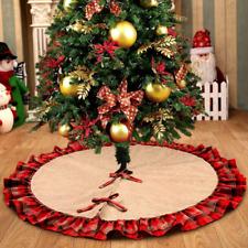 OurWarm Burlap Christmas Tree Skirt Red Black Plaid Ruffle Edge Border Large 48