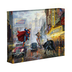 Thomas Kinkade Studios Batman, Superman and Wonder Woman 8 x 10 Gallery Wrap