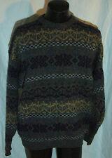 Shetland Islands of Scotland 100% Wool Multicolor Design Knit Sweater Size XL