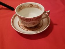 Furnivals 1913 Quail Brown Transferware Coffee Cup or Tea Cup and Saucer