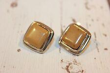 Ohrstecker NEU Ohrringe silber beige braun quadrat rechtech stecker elegant