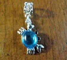 pendentif argenté crabe bleu vif