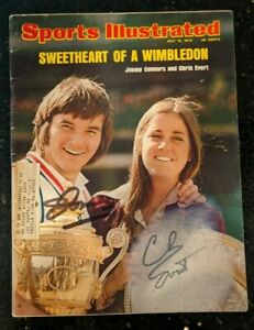 1974 Dual Signed Sports Illustrated Jimmy Connors & Chris Evert Tennis W/ COA